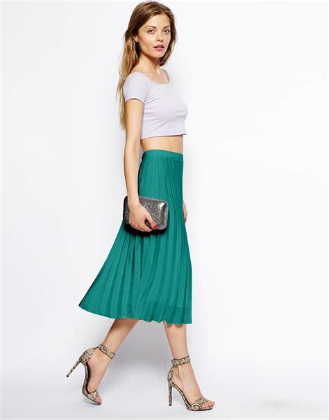 asos pleated midi skirt in green lyst