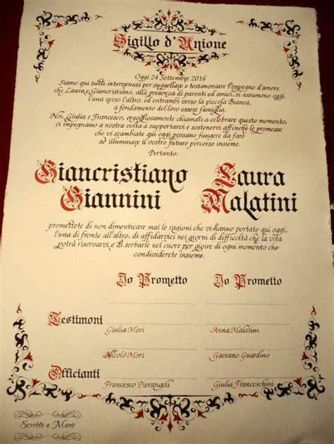 rito civile matrimonio testo attestato testimoni rito civile organizzazione