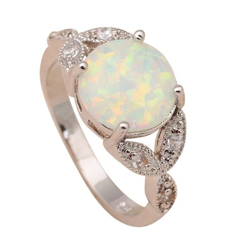 cheap price white opal silver sted rings for