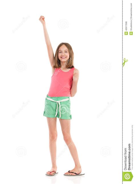 One Arm by Smiling With One Arm Raised Stock Photo Image 42617508