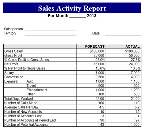 2013 sales activity report template sle