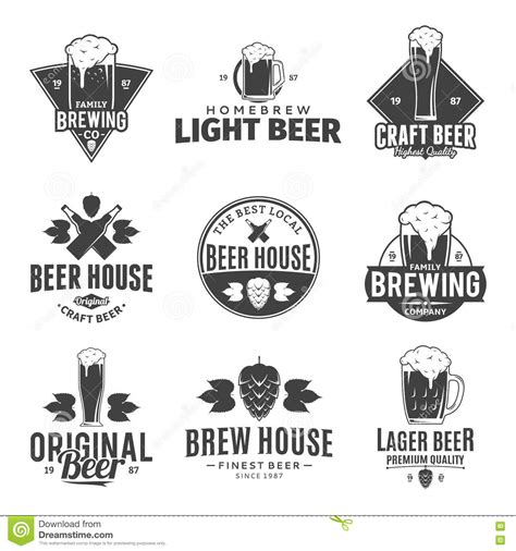 craft beer black white sticker logo stock vector 393749374 vector black and white beer logo icons and design