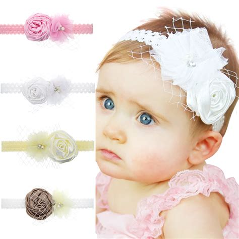 infant flower headband babies pearl lace hairband toddler fashion baby headband lace newborn pearl flower