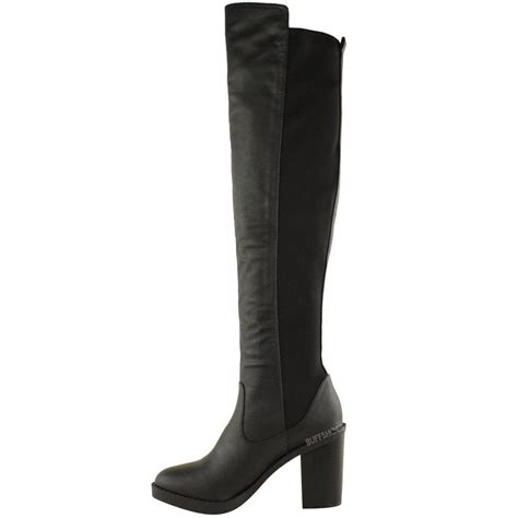 womens chunky heel the knee thigh high winter