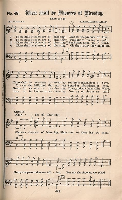 There Shall Be Showers Of Blessing Keyboard Chords by Historic Hymnals Song There Shall Be Showers Of Blessing