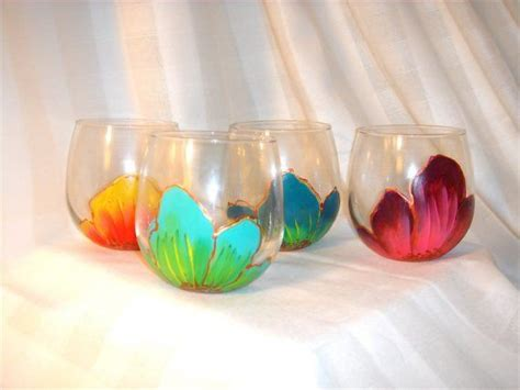 colored stemless wine glasses painted stemless wine glasses set of four floral in