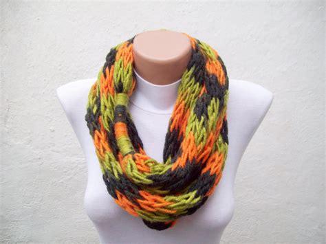 finger knitting a scarf finger knitting scarf green orange black multicolor necklace