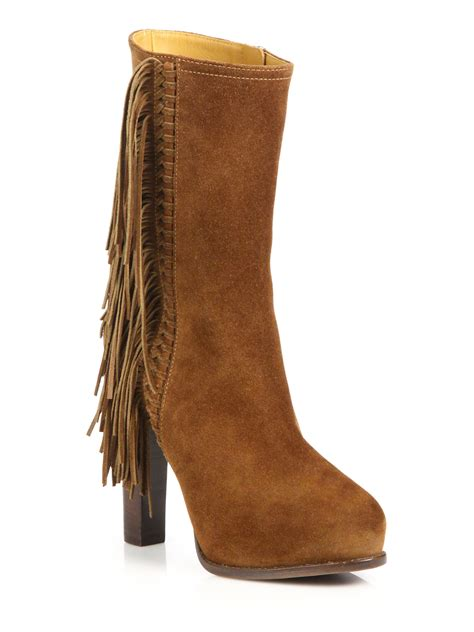 pink pony noette fringed suede boots in brown lyst