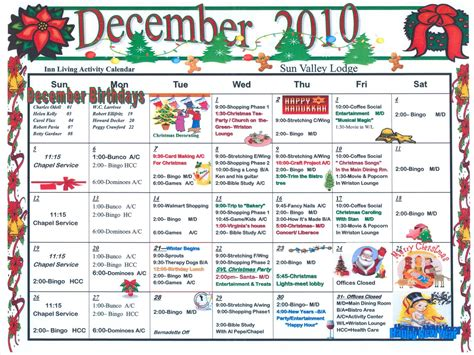 assisted living activity calendar template december activity calendars for nursing homes calendar