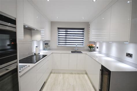 kitchen worktop lights white gloss j pull contemporary kitchen with light grey
