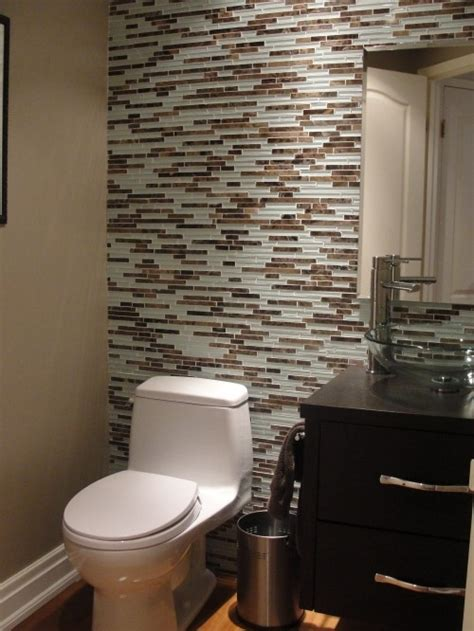 skinny glass tile accent wall in bathroom for the home