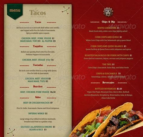 food menu template free restaurant menu template