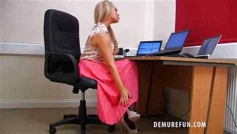 secretary bent over her desk demure fun