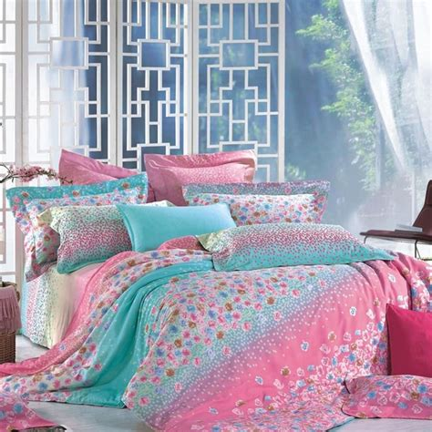 cute girly comforter sets turquoise and pink boutique flower print pastel style cute