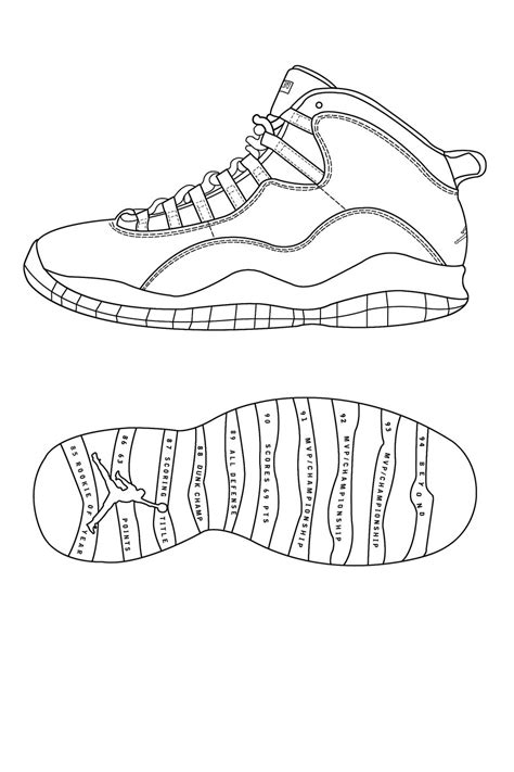 Air Jordan Retro 10 Template By Atraain On Deviantart Air 5 Coloring Page