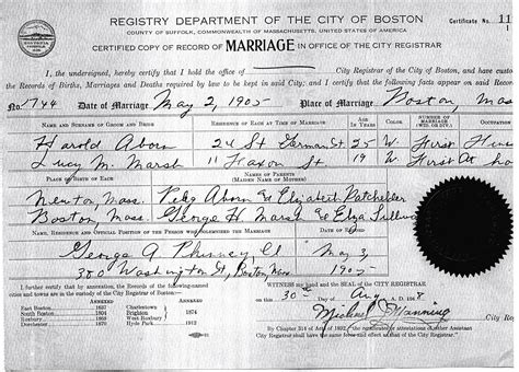 Marriage Records Boston Harold Keith Aborn 1880 1951