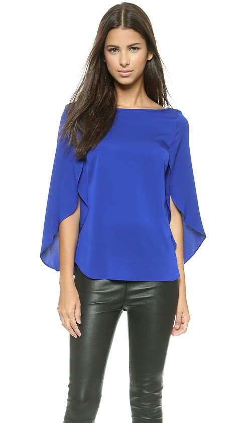 Buterfly Blouse milly butterfly sleeve blouse cobalt in blue lyst
