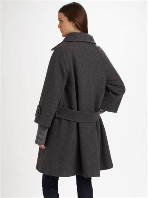 grey swing coat weekend by maxmara wool swing coat in gray grey lyst