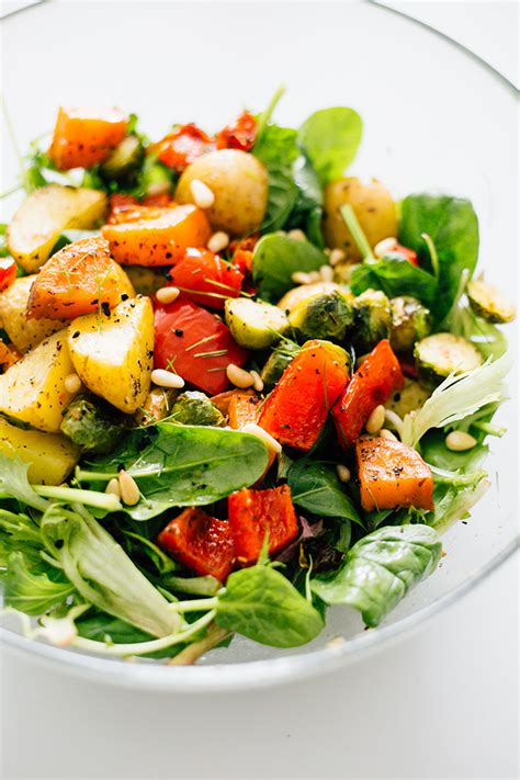 vegetables or salad vegan roasted vegetable salad with avocado dressing