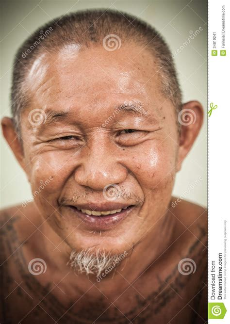 full body tattoo old man an asian old man happy face stock image image 34819241