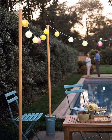 Outdoor String Light Pole 40 Terrace Light Decoration Ideas Bored