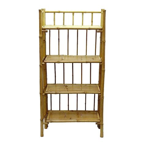 shop bamboo 54 bamboo 4 shelf bookcase at lowes