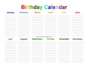Free Printable Birthday Calendar Template » Home Design 2017
