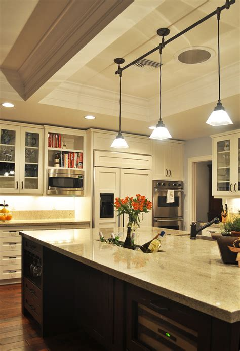 Track Lighting With Pendants Kitchens Pendant Track Lighting Kitchen Traditional With Cabinet Front Refrigerator Coffered