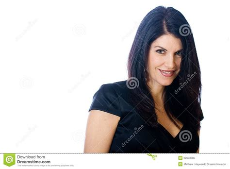 middlesge black hair do pretty middle aged woman royalty free stock photo image
