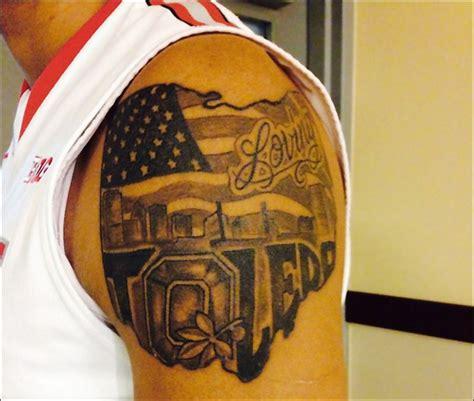 state street tattoo ohio state freshman marc loving shows for toledo osu