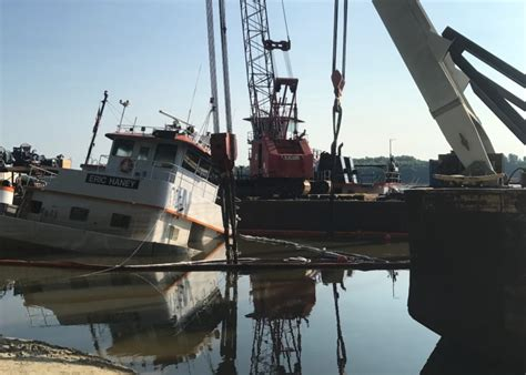 eric haney towboat salvage of sunken towing vessel continues on upper