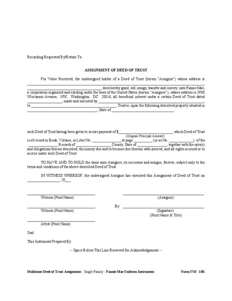 Deed Of Trust Assignment Form Free Download Property Trust Deed Template