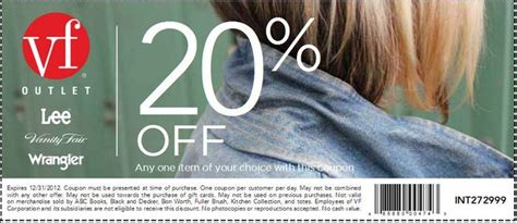 Vanity Coupon Code by Vanity Fair Outlet 20 Item Printable Coupon