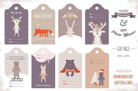 printable animal gift tags cute holiday gift tags graphics creative market