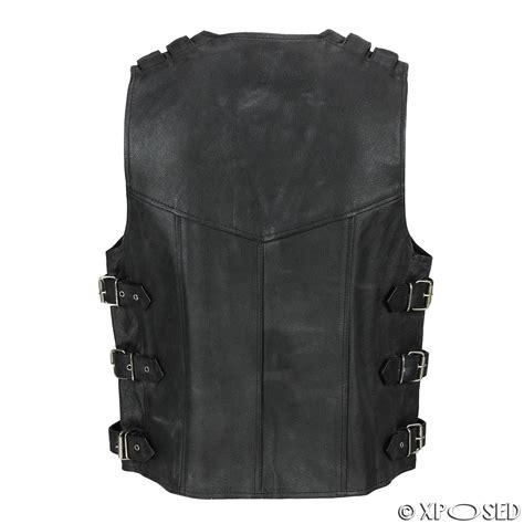 mens real leather hide motorcycle biker waistcoat fish