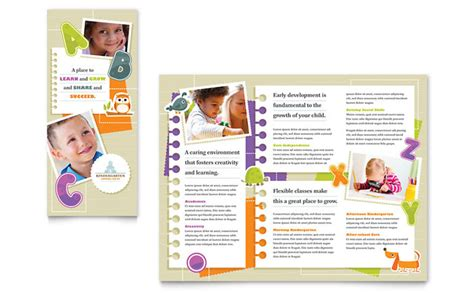 nursery brochure templates free kindergarten tri fold brochure template design