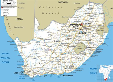 south map south africa road map transport map of south africa