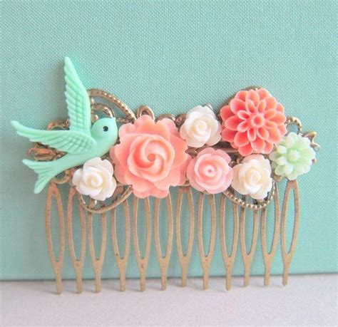 mint green coral wedding coral mint green wedding hair comb bridesmaid gift