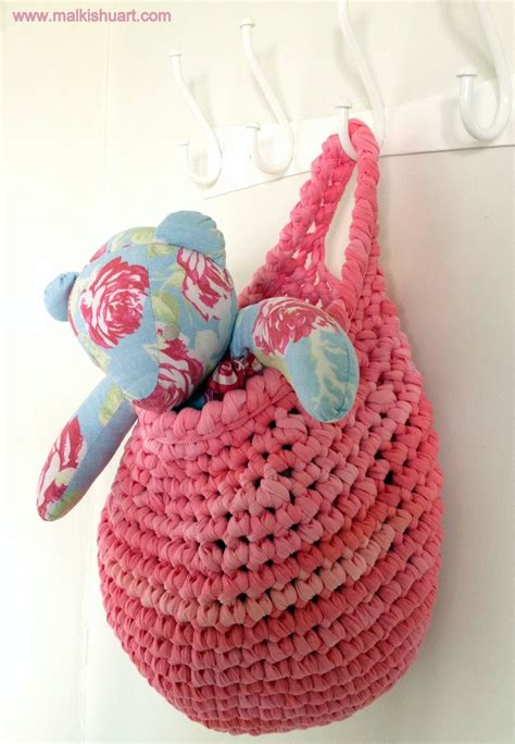 crochet basket pattern with t shirt yarn a spiral crochet hanging basket made of t shirt yarn