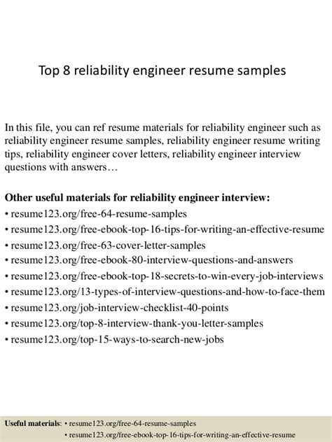 top 8 reliability engineer resume sles