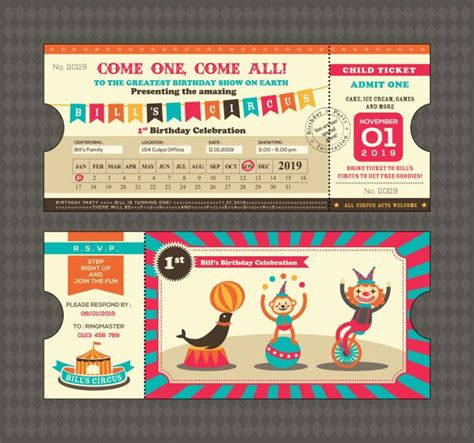 imagenes de entradas vip tarjeta de cumplea 241 os con dise 241 o de entradas de circus