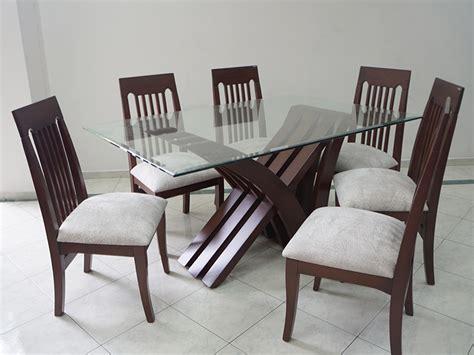 juego de comedor nadia  vidrio  sillas tirillas cafe