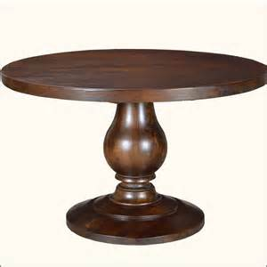 Rustic solid wood sutton pedestal baluster round dining room table