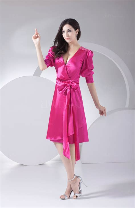 hot pink antique    neck silk  satin knee length