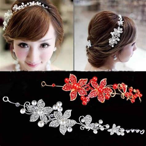Hair Ornaments Imitation Pearl Headband faux pearl flower rhinestone prom bridal