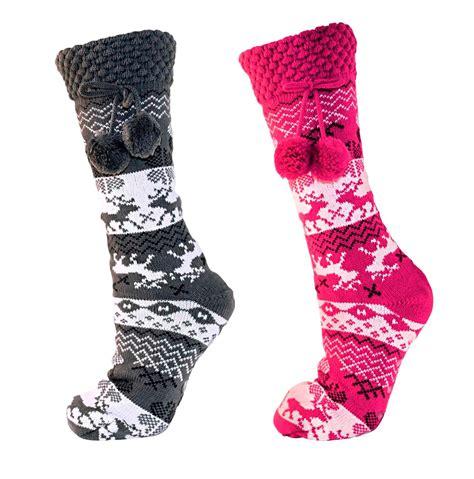 womens fleece slipper socks womens fairisle fleece lined knitted cuff slipper