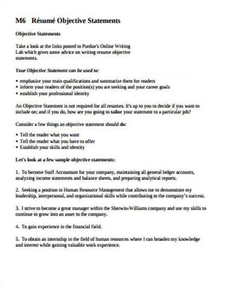 exle of objective statement 7 sle resume objective statement free sle