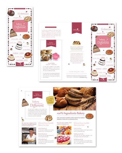free bakery flyer templates decorative bakery tri fold brochure template branding