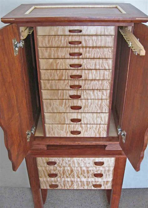 Handmade Wooden Jewellery Box - necklace holder beautiful handmade armoire jewelry box of