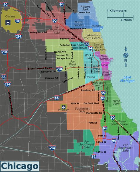 chicago map of neighborhoods chicago wikitravel